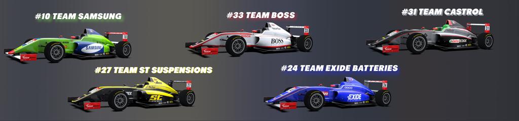 Five team cars